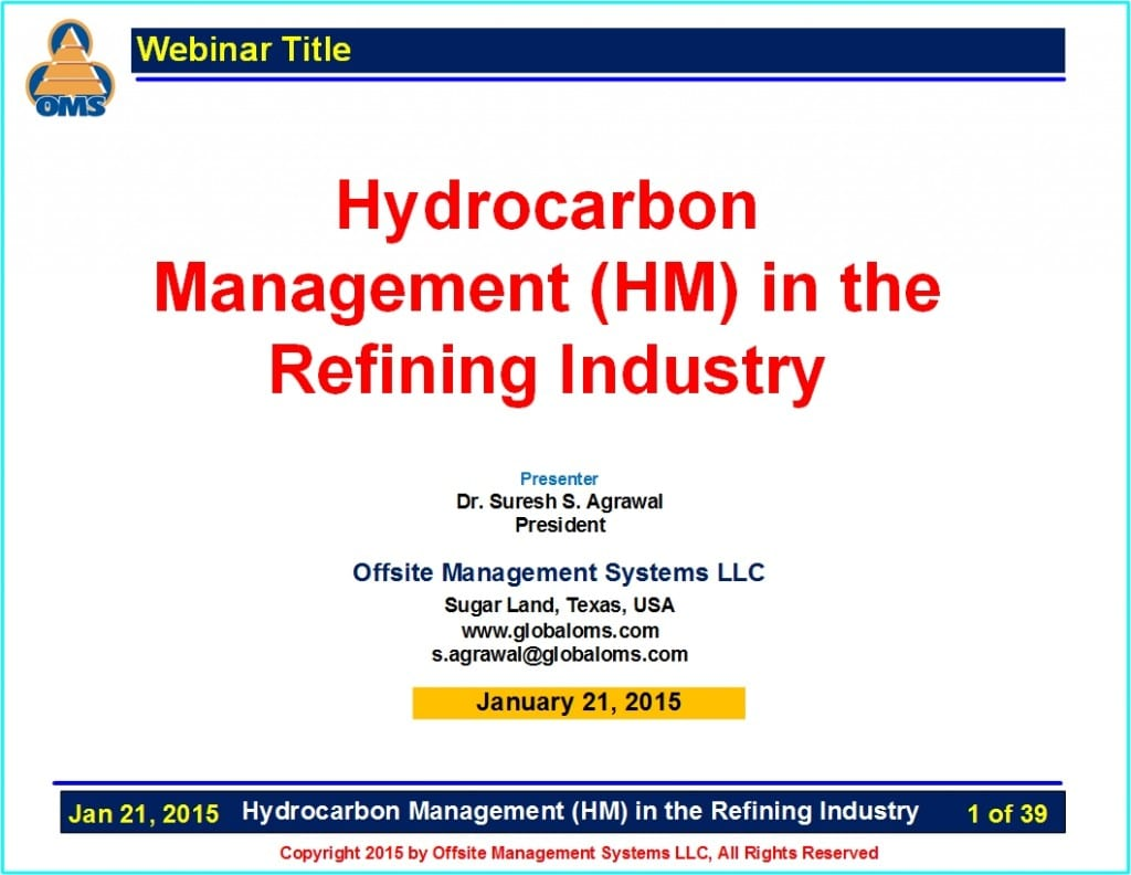 OMS-W02 Hydrocarbon Management in the Refining Industry