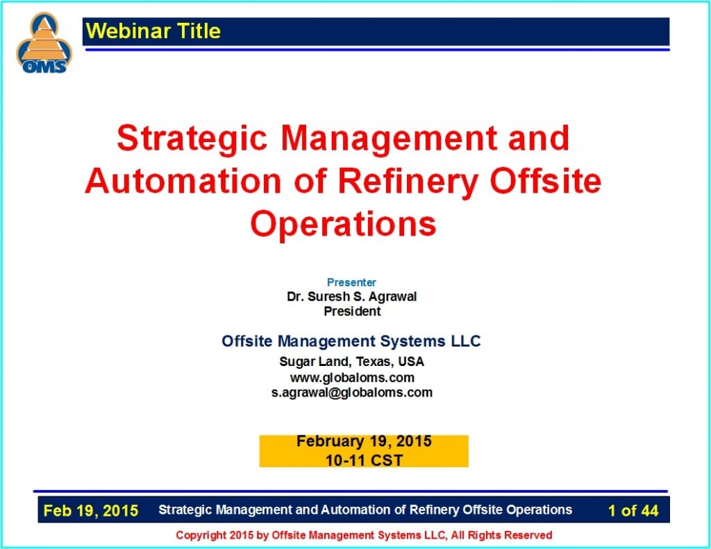 OMS-W03 Strategic Management and Automation of Refinery Offsite Operations