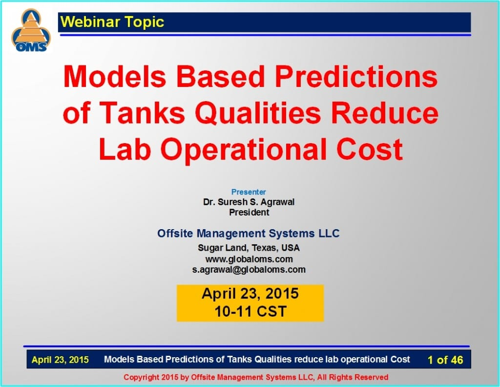 OMS-W04 Models based predictions of tank qualities reduce lab operational cost
