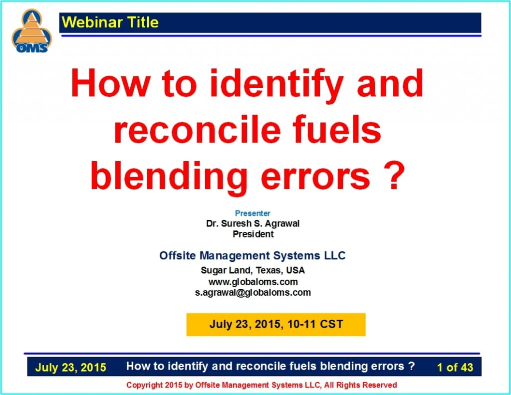 OMS-W07 How to identify and reconcile fuels blending errors