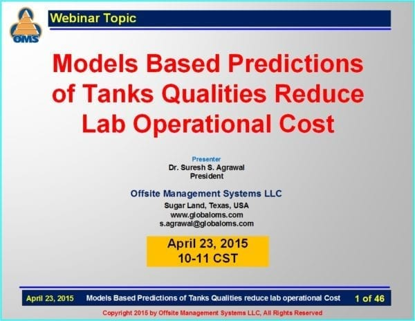 Reduce lab operational cost with tank qualities Predictions