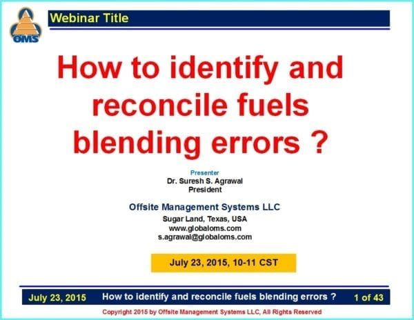 How to identify and reconcile fuels blending errors Webinar